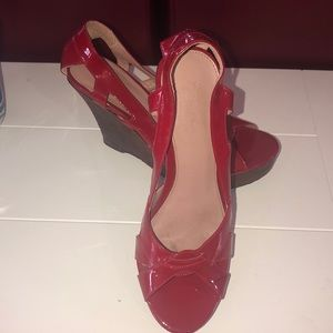 Red Calvin Klein size 6 wedges, worn a few times